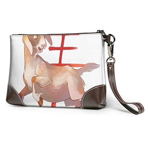 GLGFashion Damen Leder Clutch Bag Geldbörsen Year Of The Goat Women's Travel Leather Wristlet Clutch Purses Makeup Cosmetic Case Portable Storage Bag Wallet Handbag For Women Girls