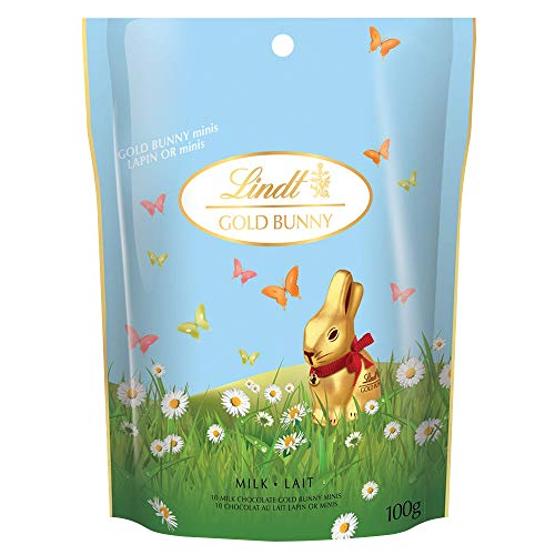 Lindt Miniature Milk Chocolate Easter Gold Bunny, 100g Pouch, Mini Bunnies Easter Chocolate