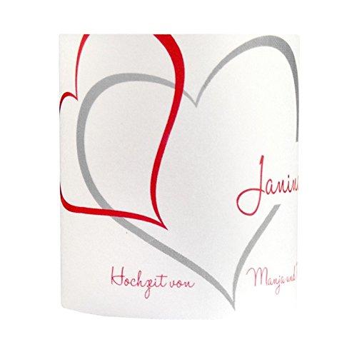 Tischkarte Windlicht Zwei Herzen Rot-Silber mit Druck: Platzkärtchen, Tischkärtchen, Tischdeko für Hochzeit, Geburtstag, Taufe, Kommunion