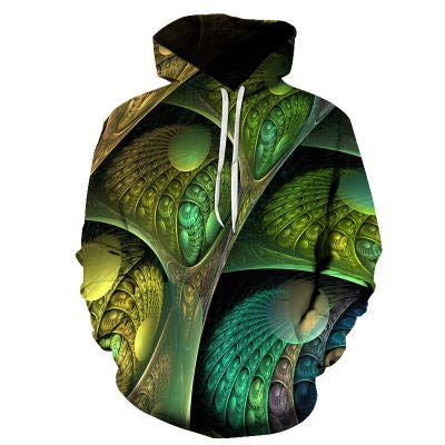 SLYZ Men's and Winter Hooded Sweater Long-Sleeved 3D Printing Sports Casual Fashion All-Match Men's Sweater