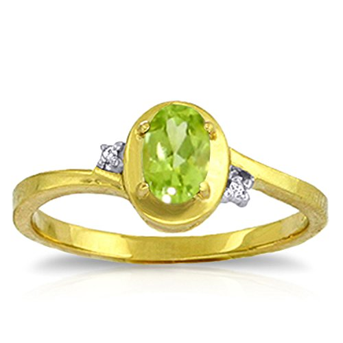 Galaxy Gold 0.51 Carat 14k Solid Gold Ring with Natural Diamonds and Oval-Shaped Peridot - Size 10.5