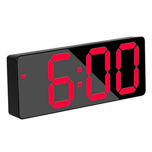 Katigan Reloj Despertador Digital, Reloj de Viaje LED Rojo de Cabecera con Alarma Temperatura Fecha 12/24 H, para Dormitorio, Hogar, PortáTil, Negro