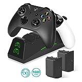 innoAura Caricatore per Controller Xbox One, Docking Station/Slot Doppio Slot con 2 batterie Ricaricabili 1600mAh per Controller Xbox One (S) / X/Elite