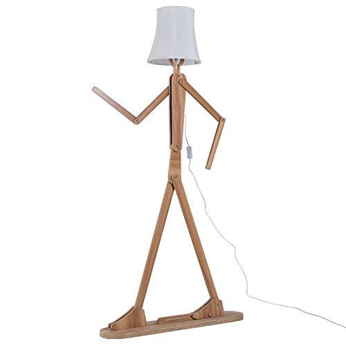 QIANGUANG Moderno lámpara de pie Creativo Original Madera 1.6 m de Madera Decoración del hogar Luz de pie para Sala de Estar y Dormitorio (Marrón claro1)
