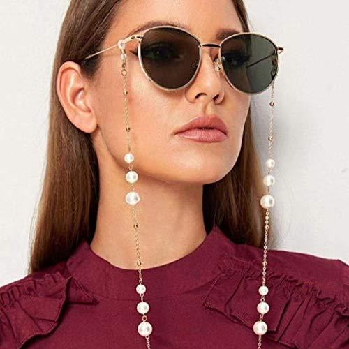 Sethexy Oro Donne Catena per occhiali Moda Perle Catena per maschera facciale Perla Donne Catena di occhiali da sole Accessori per Bicchieri e Maschere per il viso (B)