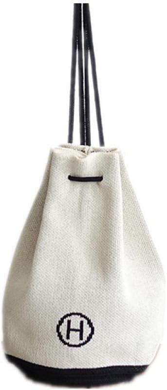 ZYSAJK Women Shoulder Backpack ,korean Style Lazy Wind Wool Knitted Bag , Bucket Bag Fashion Women Backpack