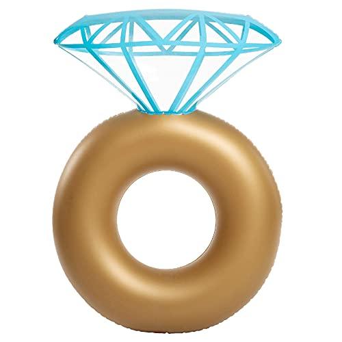 EliteKoopers 1 anillo de compromiso inflable gigante de diamante flotador playa piscina juguete para las mujeres