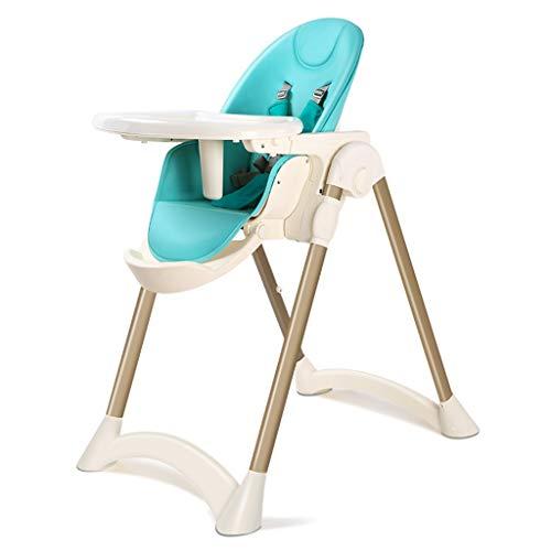 Intrekbare kinderstoel met dubbele platen en veiligheidsriemen, verstelbaar met meerdere functies - Intrekbaar - Opvouwbare hoge stoel voor kinderen van 0 tot 4 jaar oud (blauw)