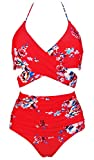COCOSHIP Red & White & Jade Pink Garden Flower Retro Ruched High Waist Bikini Set Cross Push Up Sport Tie Back Swim Bathing Suit 12