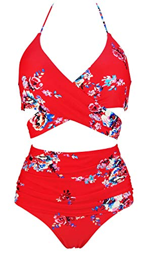 COCOSHIP Red & White & Jade Pink Garden Flower Retro Ruched High Waist Bikini Set Cross Push Up Sport Tie Back Swim Bathing Suit 6