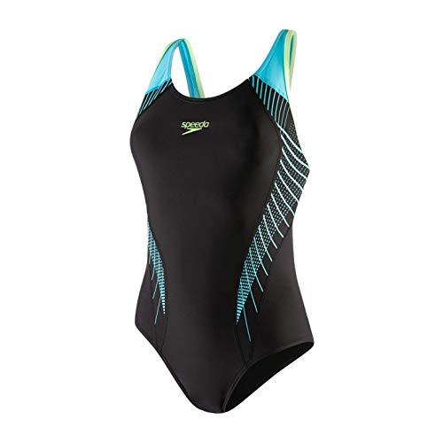 Speedo - Costume da Bagno da Donna Fit Laneback, Donna, Costume da Bagno, 811389, Nero/Aqua Splash/Luminoso, 36 (14 UK)