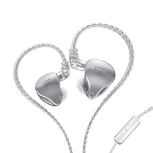 Linsoul KZ AST 24 Units Balanced Armature Combination in-Ear Earphones IEM with Detachable 2pin 0.75 Cable for Musicians Audiophile (with mic, Silver)