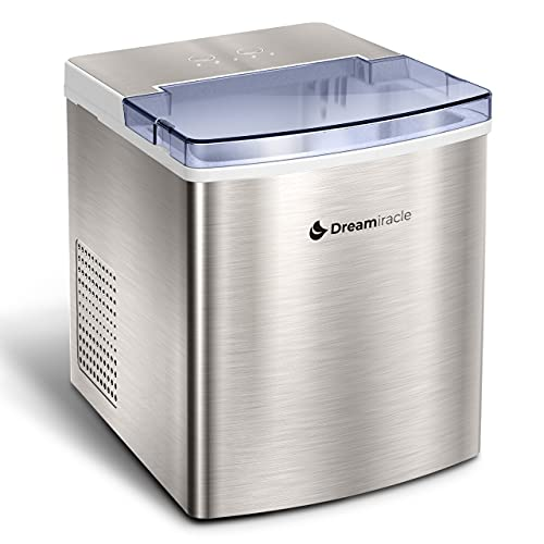 Ice Maker Machine for Countertop, Dreamiracle Ice Cubes Ready in 6 Mins, 33 lbs Ice in 24 H, Self-cleaning Ice Machine, Electric Ice Maker Stainless Steel