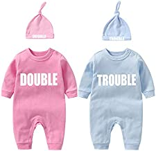 YSCULBUTOL Baby Twins Clothes Best Friends Forever Baby Bodysuit Set Friends Inspired Matching Twins Outfits(Pink DT L3M)