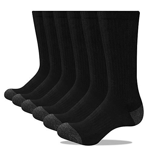 Closemate 3/6 Pairs Men's Cushion Crew Calf Socks Moisture Wicking Athletic Cotton Socks for Sport Training Work (6Black, 5-9)
