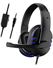 Spelheadset med mikrofon för Xbox One/PS4, över-öron brusisolering bas spelhörlurar med mikrofon, surroundljud, volymkontroll (svart +blå), Svart+blå