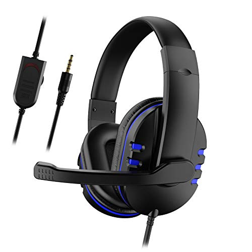 Yolispa Gaming Headset with Mic for Xbox One/PS4, Over-Ear Noise Isolation Bass Gaming Headphones with Microphone, Surround Sound, Volume Control (Black+Blue)