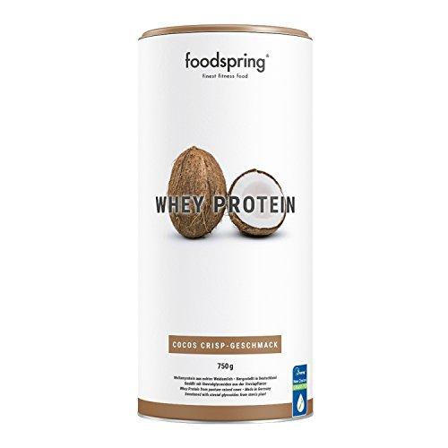foodspring - Whey Protein al Cocco Croccante - 750 g -80% di proteine del siero del latte - Proteine per lo sviluppo muscolare