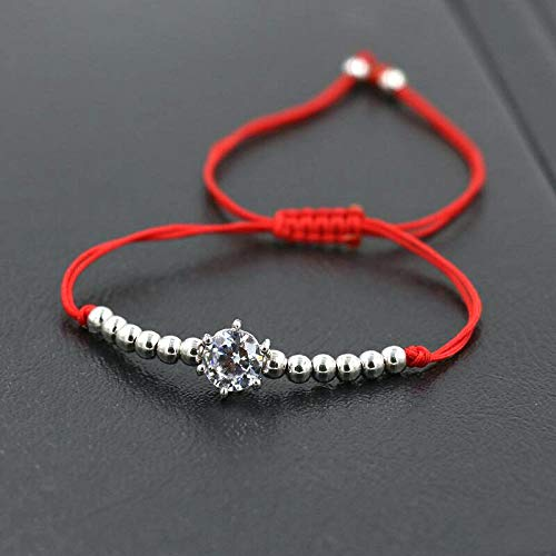 ANGYANG Woven Bracelet,Red Rope With Copper Beads Shiny Cubic Zirconia Braid Adjustable Charm Bracelets Lucky Friendship Gift For Boy Girl Couples Men Women
