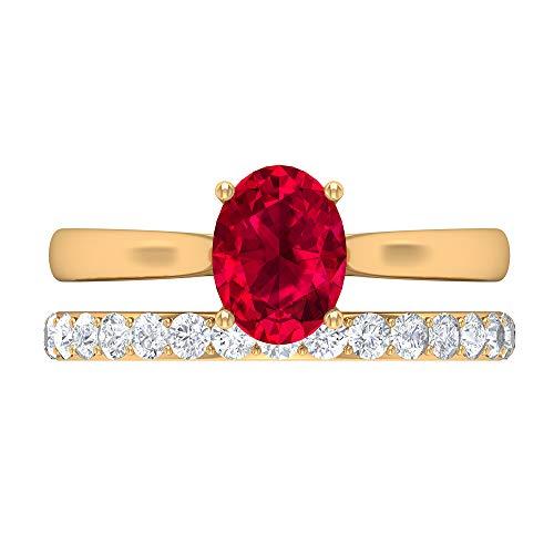 Conjunto de anillos de novia de rubí, anillo de compromiso cónico, piedras preciosas de 2,09 CT, anillo solitario ovalado D-VSSI Moissanite 8X6, 14K Oro amarillo, Rubí, Size:EU 52