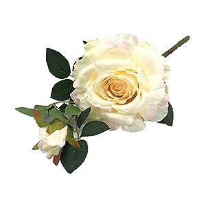 Enova Home Artificial Silk Open Rose Flower Spray Stem Set for Flower Arrangement Wedding Party Home Decoration (1, Blush)