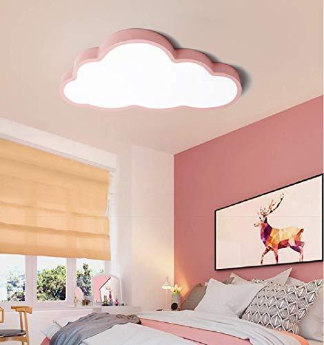 LED Deckenleuchte Kinderzimmer Jungen Mädchen Schlafzimmer ultradünne 5cm kreative Wolken (Rosa Rand(50 * 28cm)36W, Warmes Licht)