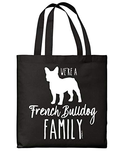Funny Tote Bag For Women We're A French Bulldog Family Black Canvas Tote Bag