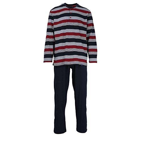 Götzburg Herren Pyjama, Schlafanzug, Oberteil und Hose - Langarm, Baumwolle, Single Jersey, rot, gestreift 52