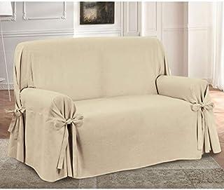 comprar comparacion HomeLife – Cubre sofá de 2 plazas – Elegante Protector de sofás con Lazos – Funda de sofá de algodón para Proteger del Pol...
