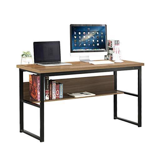 DlandHome Escritorio de Computadora con Estantes 139 * 55 cm Escritorio de Oficina Mesa de Madera Escritura de Postes de Trabajo para Hogar y Oficina, Teca & Negro