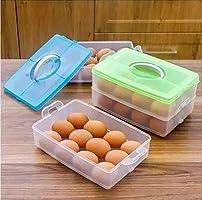SHOPOBOX lastic Double Layer Refrigerator 24 Eggs Storage Box Airtight Basket (Multi Color)
