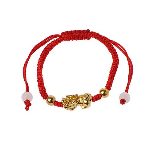 Pulsera de cadena roja con protección contra el mal de ojo, diseño chino Feng Shui Gold Pi Xiu Kabbalah