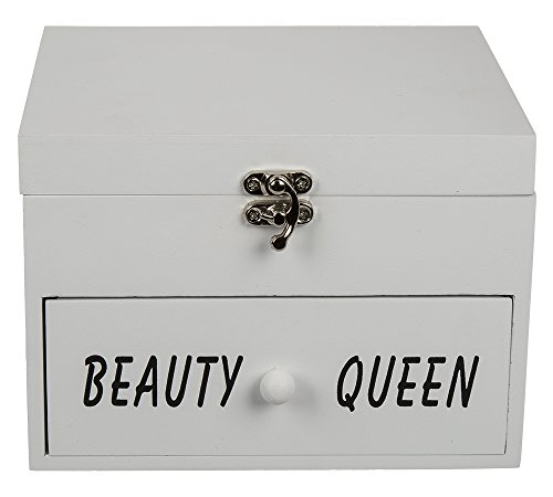 OOTB - Scatola in legno, 'Beauty Queen', in legno, bianco, 17 x 12 x 24 cm