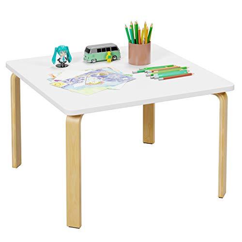 Homfa Kindertisch ohne Stühle Schreibtisch 75x75x50cm(BxTxH) Computertisch Arbeitstisch Beistelltisch Tisch aus Holz und Eiche weiß