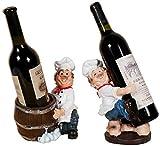 Estantería de vino Bandeja de vino, dos hermanos Chef Resina Carácter estante del vino del estante del arte del vino por un Salón Comedor gabinete del vino regalo de la decoración estante de vino pequ