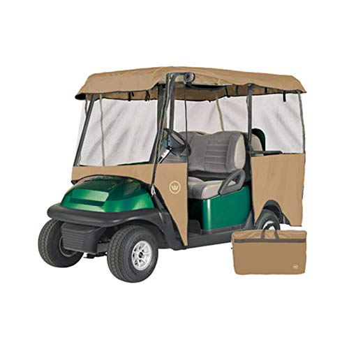 Greenline Drivable Golf Cart Enclosures by Eevelle, Heavy Duty 300D 4 Passenger Universal Fit, Bunker Sand