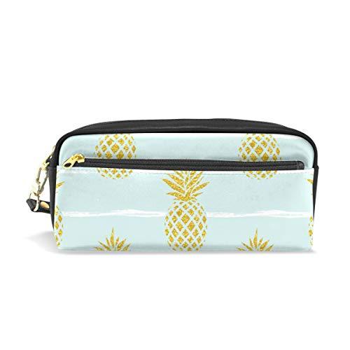 Étui à stylo Stationnaire Golden Fruit Ananas Sans Soudure Crayon Sacs Pochette Portable pour École Enfants Enfants Cosmétique Sac Maquillage Beauté