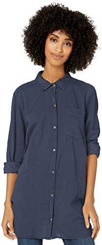 Amazon Brand Goodthreads Women s Lightweight Poplin Long Sleeve Button Front Tunic Shirt Steel product image
