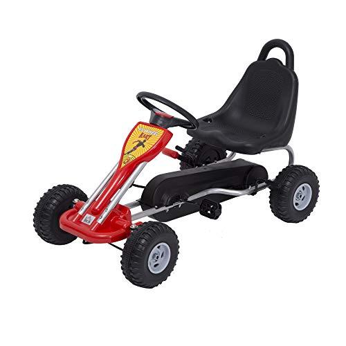 HOMCOM Go Kart a Pedales para Niños Desde 3 Años Carga Máx. 30kg Coche de Pedales con Freno de Mano y Cadena 89x52x51 cm Rojo y Negro