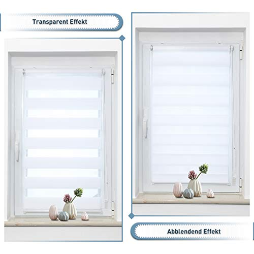 Zarnan Klemmfix Doppelrollo ohne Bohren 90x120cm(BxH) Weiß Duo Rollo Blickdicht Zebrarollo für Fenster&Tür Wohnzimmer Küche Büro