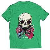 lepni.me Camisetas Hombre Guitarras, Calavera, Rosas - Amantes del Concierto de Rock & Roll (XXL Brezo Verde Multicolor)