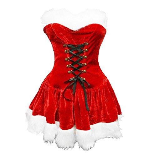Bslingerie® Sexy Damen Weihnachten Kostüm Kleid mit Hut (M, Trägerlose Kleid)