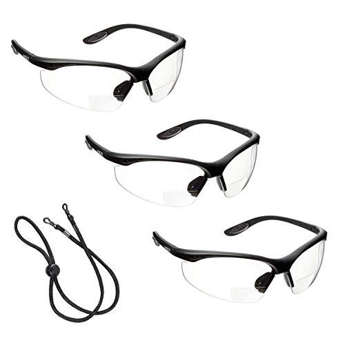 3 x voltX 'CONSTRUCTOR' BIFOCALE VEILIGHEIDSLEESBRIL (DOORZICHTIG +3.0 Dioptrie) CE EN166F Gecertificeerde/Fiets- of Sportbril inclusief veiligheidskoord + UV400 lens met anti-mist coating