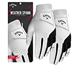 Callaway Golf Men's Weather Spann Premium Japanese Synthetic Golf Glove (Large, Two-Pack, White, Worn on Left Hand)