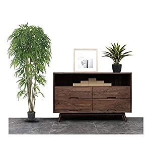 AMERIQUE 7 Feet Gorgeous & Dense Japanese Bamboo Tree Artificial Plant, in Nursery Pot, Real Touch Technology, 1575 Leaves, Green