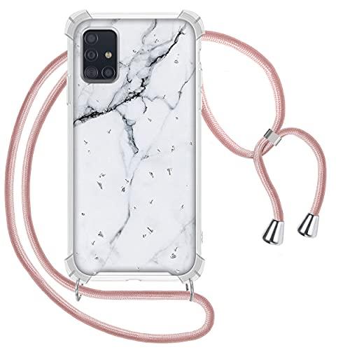 Greneric Coque pour Samsung Galaxy A51 4G avec Cordon de Collier, Glitter Marbre Blanc Necklace Ultra Mince Housse en TPU Souple et PC Dur Lanière avec Cordon Réglable Lanyard, Or Rose