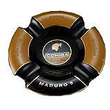 JSY Circular Ceramic Cigar Ashtray 4 Grooves Advanced Cigar Ashtray Cuban Cigar Accessories Ashtrays (Color : Black)