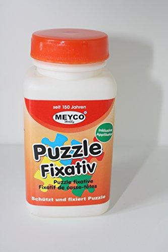 Meyco Hobby Puzzlekleber Fixativ 120 ml - Inkl. Applikator zum Auftragen - Für bis zu 2000 Teile Puzzles - Fixieren Sie Ihre Puzzles ohne Bilder-Rahmen