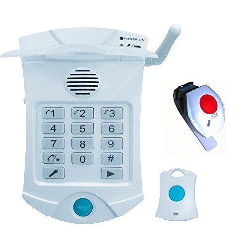 Dispositivo de teleasistencia médica para personas mayores con 2 mandos y botón de pánico para emergencias