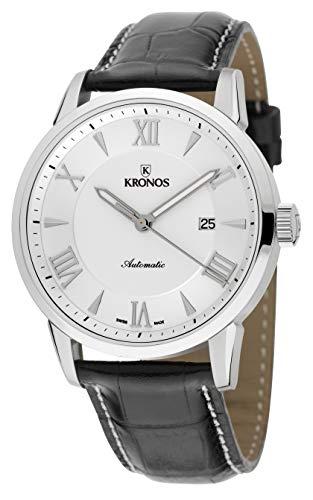 KRONOS - Elegance Automatic Silver 796.25 - Reloj de Caballero automático, Correa de Piel Negra, Color Esfera: Plateada